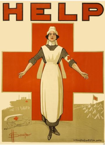 Red Cross poster circa WW 1 - art by Henry David Souter. Image in public domain.